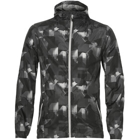 asics fuzeX Packable Jacket Men paint geo dark grey